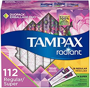 4-Pack (112 Count) Tampax Unscented Radiant Plastic Tampons