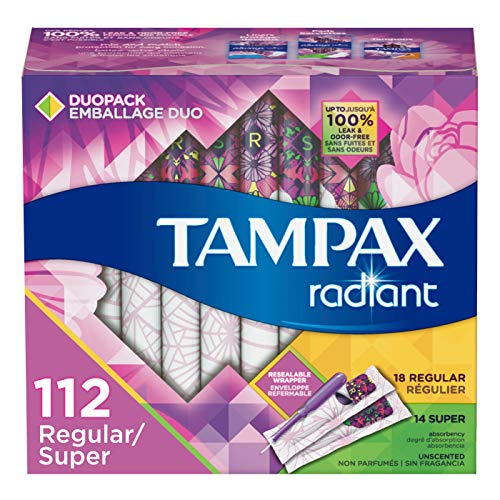 Tampax Radiant Plastic Tampons, Regular/Super Absorbency Duopack, Unscented,  28 Count - Pack of 4 (112 Count Total)  (Packaging May Vary) (The Best Tampons For Swimming)
