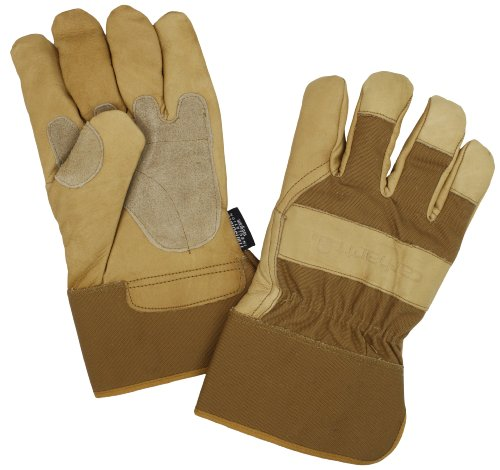 Cuff Gloves Leather Palm (Carhartt Men's Insulated Grain Leather Work Glove with Safety Cuff, Brown, X-Large)