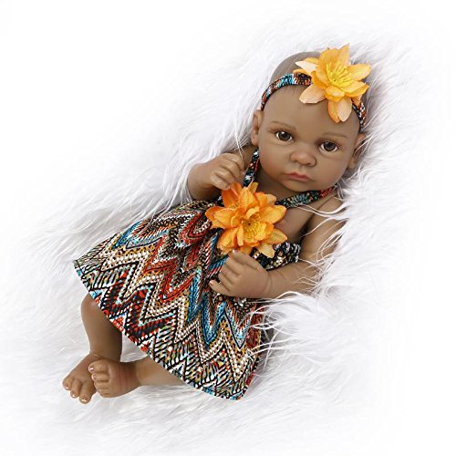 "Search : NPK Reborn Baby Doll Girl Real Life Full Silicone 10"" Mini Realistic Doll Newborn African American Girl Bohemia Style Dress Open Eyes cute doll Toddler Gifts for Ages 2+"