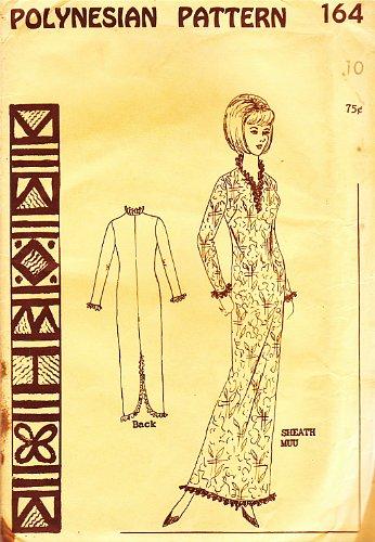 Hawaiian Muumuu Costume (Polynesian Pattern 164 Vintage Hawaiian Sheath Muu Muu Dress, 1960s/70s)