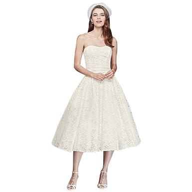Tea Length Drop Waist Lace Wedding Dress Style WG3719 at Amazon ...