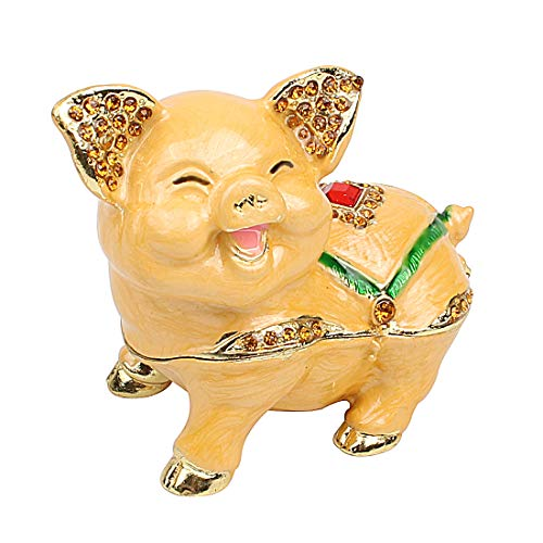 Hophen Mother`s Day Cute Smiling Pig Animal Figurine Trinket Box Ring Holder Jewelry Storage Statue Collectible Ornament (Yellow) ()