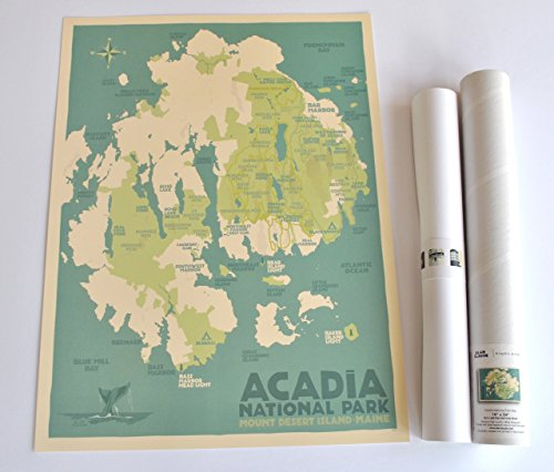- Acadia National Park Map, Maine Print (18x24 Travel Poster, Wall Decor Art)