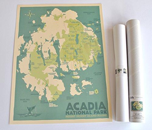 Acadia National Park Map, Maine Print (18x24 Travel Poster, Wall Decor Art)