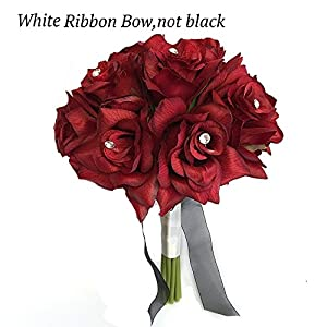 "Angel Isabella 8"" Wedding Bridal Rose Bouquet(XLBQ002-ARWT) - One Dozen Roses with Rhinestone - Artificial Flower Bridesmaid Toss (Apple Red(White Ribbon)) 10"