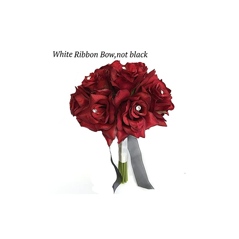 "silk flower arrangements angel isabella 8"" wedding bridal rose bouquet(xlbq002-arwt) - one dozen roses with rhinestone - artificial flower bridesmaid toss (apple red(white ribbon))"