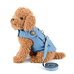 SMALLLEE_LUCKY_STORE Denim Vest Harness with Back Pocket for Small Dog Cat,Jean Jacket with Harness Hook,Easy on and Off