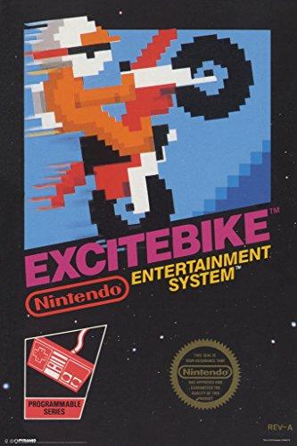 Excitebike Nintendo NES Motorcross Motor Cycle Racing Video Game Cover Box Art Print Poster 12x18 inch
