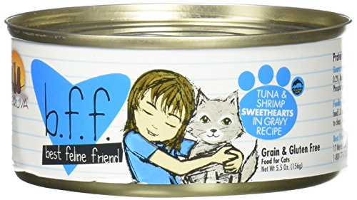 Best Feline Friend (B.F.F.) Grain-Free Cat Food by Weruva, Tuna & Shrimp Sweethearts, 5.5-Ounce Can (Pack of (Sweet Shrimp)