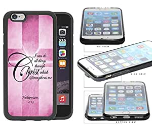 Philippians 4:13 Bible Verse with Cross and (Pink) Grunge Rubber TPU Cell Phone Case Cover iPhone 6 (4.7 INCH SCREEN) by runtopwell