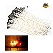 """100% Natural Cotton Core Candle Wick, Low Smoke 6"""" Pre-Waxed for Candle Making 100 Pcs"""