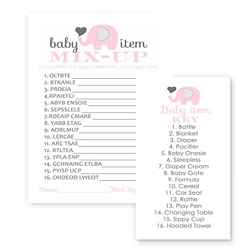 Pink Elephant Baby Shower Word Scramble Game Set of 25
