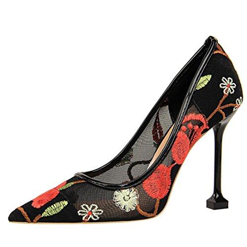 Rouge Bleu Kaki Profonde Beige Lace Peu Tourisme Escarpins Rouge Noir Plates Sandales Talons Bouche Chaussures Hauts Femmes Broderie OwfZFaqz