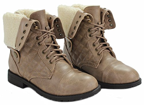 Up Back Boots Lace fur Women Cuff Leather Foldable Taupe Quilted Plaid Military Faux lined Zipper Combat 7PxqwCaU