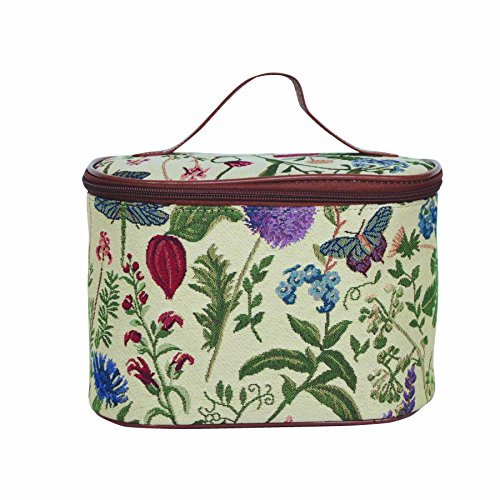 (Ladies Garden Flower Round Large Cosmetic Bag Travel Makeup Organiser Case with Handle Holder with Sunflower Poppy Butterfly Dragonfly by Signare (TOIL-MGD))