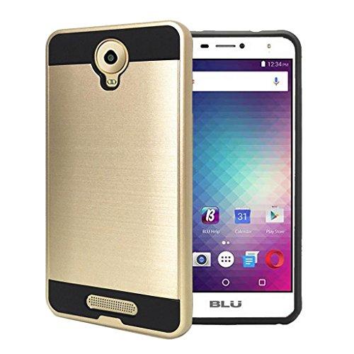 BLU Studio XL 2 Case, Uppercase [Anti Scratch][Drop Proof][Shock Absorption][Hybrid] TPU + PC Case for BLU Studio XL 2 S0270UU (Gold)