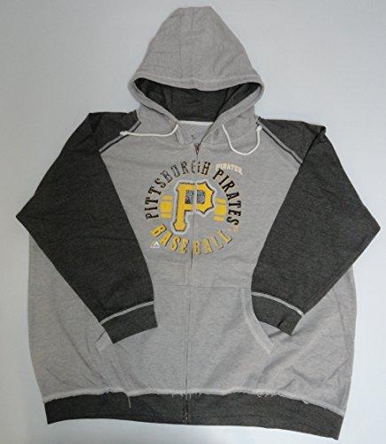 Majestic MLB Licensed Pittsburgh Pirates Grey Full Zip Hoodie Sweatshirt Jacket (2X)