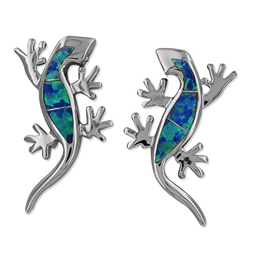 Sterling Silver Synthetic Blue Opal Lizard Stud Earrings ()