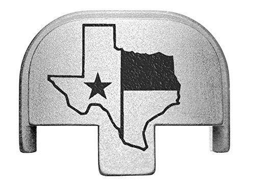 Sil Border - NDZ Performance Rear Slide Cover Plate for Smith & Wesson Self Defense S&W SD9 SD40 VE 9mm .40 Silver Custom Laser Engraved Image: Texas State Border Outline Flag