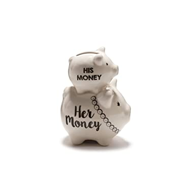 Mr. and Mrs. Ceramic Stacked Piggy Bank