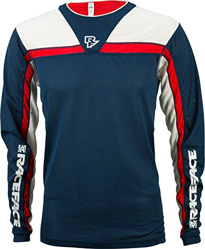 Race Face Stage Long Sleeve Jersey: Navy/Flame MD