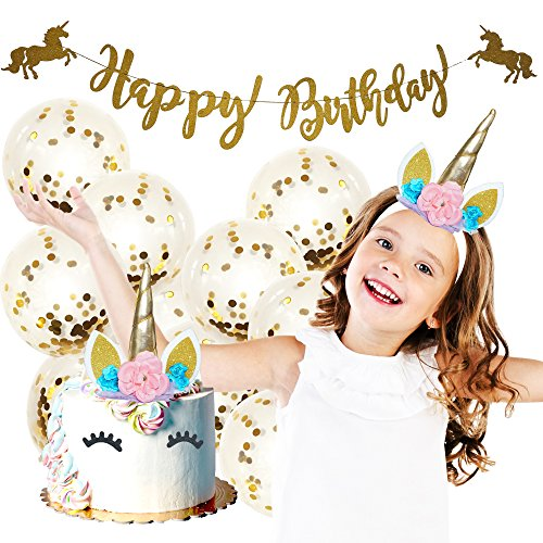 Unicorn Party Supplies - Unicorn Headband, Unicorn Cake Topper, Unicorn Birthday Banner & Unicorn Balloons | Unicorn Party Favors | Unicorn Birthday Party Supplies | Unicorn Party Decorations Decorate That Special Birthday Cake