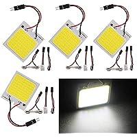 EZONEDEAL 4/8 Pack White Led Panel Dome Light Lamp, COB 48-SMD Led Interior Car Lights Auto Led Dome Lights Interior (4…