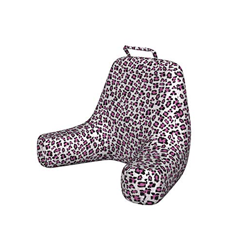 Ambesonne Leopard Print Reading Pillow, Pink and Black Colored Girlish Pattern Safari Savannah Wildlife Theme, Resting Pillow with Spacious Back Pocket and Washable Cover, X-Large, Black White