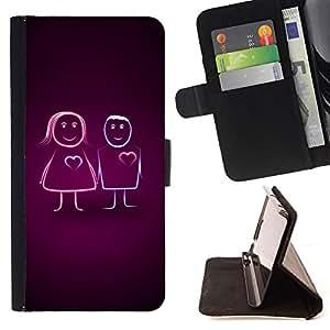 BullDog Case - FOR/Samsung Galaxy Note 3 III / - / Cute Line Couple /- Monedero de cuero de la PU Llevar cubierta de la caja con el ID Credit Card Slots Flip funda de cuer