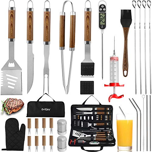 grilljoy 30PCS BBQ Grill Tools Set with Thermometer and Meat Injector. Extra Thick Stainless Steel Fork, Tongs& Spatula…