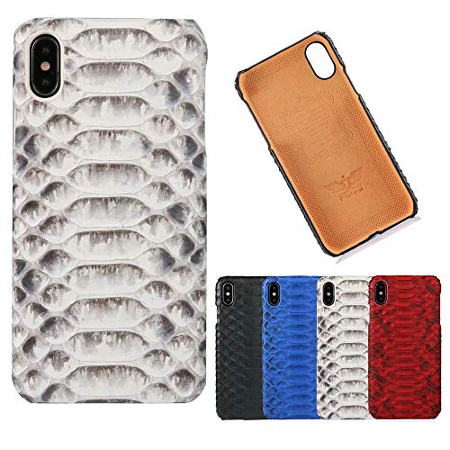 (Genuine Leather Luxury Business Python Skin Pattern Slim Fit Hard Back Cover for iPhone Xs Max/iPhone XR/iPhone Xs/iPhone X/iPhone 7 8 Plus (White, iPhone Xs Max))