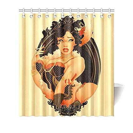 CTIGERS Fashion Shower Curtain Black Pin Up Girl Polyester Fabric Bathroom Decoration 66 X 72 Inch