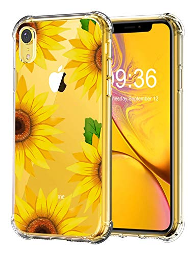 RicHyun Sunflower Case for iPhone XR, Clear Floral Pattern Soft Flexible TPU Shockproof Bumper Case for iPhone XR 2018