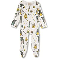 Babyushka Grey Bear Organic Long Sleeve Zip Romper, 0-3 Months (000)