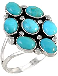 Sterling Silver Ring with Genuine Turquoise & Gemstones (SELECT color)