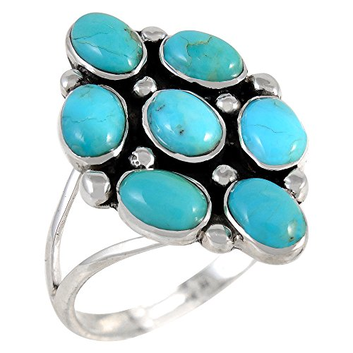 Sterling Silver Ring with Genuine Turquoise & Gemstones (SELECT color) (Turquoise, 7)