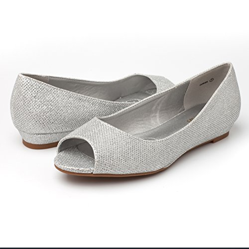 Low Glitter Heel Dream Women's Wedge Dories Toe Shoes Flats Silver Peep Pairs FUAwAqX