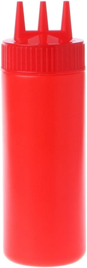 3 Holes Squeeze Bottle Condiment Dispenser Vinegar Ketchup Cruet Bin 12//16//24oz*