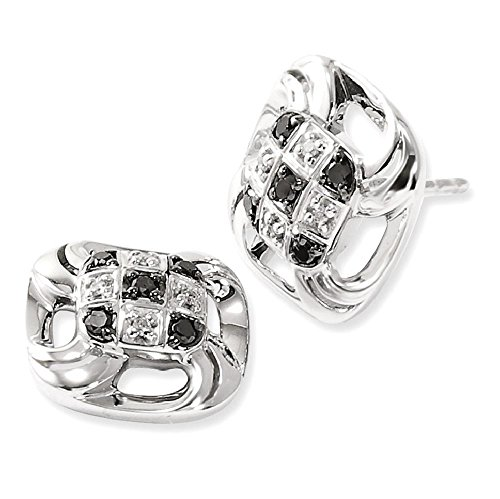 ICE CARATS 925 Sterling Silver Black White Diamond Square Post Stud Ball Button Earrings Fine Jewelry Gift Set For Women Heart by ICE CARATS