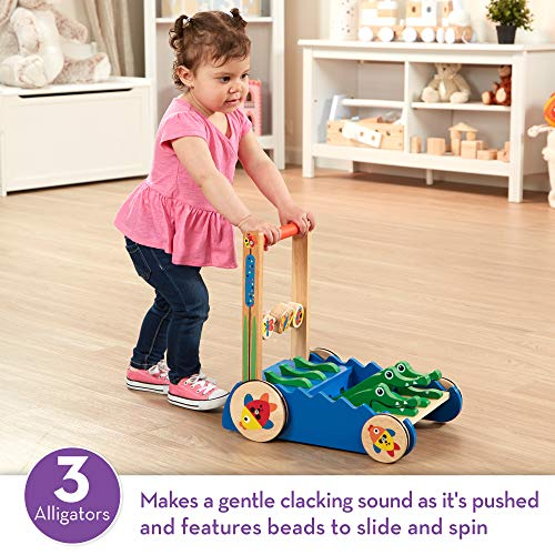 Melissa & Doug Chomp & Clack Alligator Push Toy, Wooden Activity Walker, Sturdy Construction, Makes Sounds When Pushed, 11.75″ H × 15″ W × 15″ L