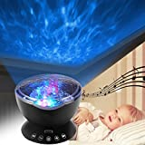 Enkman Ocean Wave Projector, Baby Sleep Sound Machine, Night Light Projector with Remote, Music Player, Timer, Room Decor for Infant Baby Kids, Nursery Living Room and Bedroom, Easter Presents