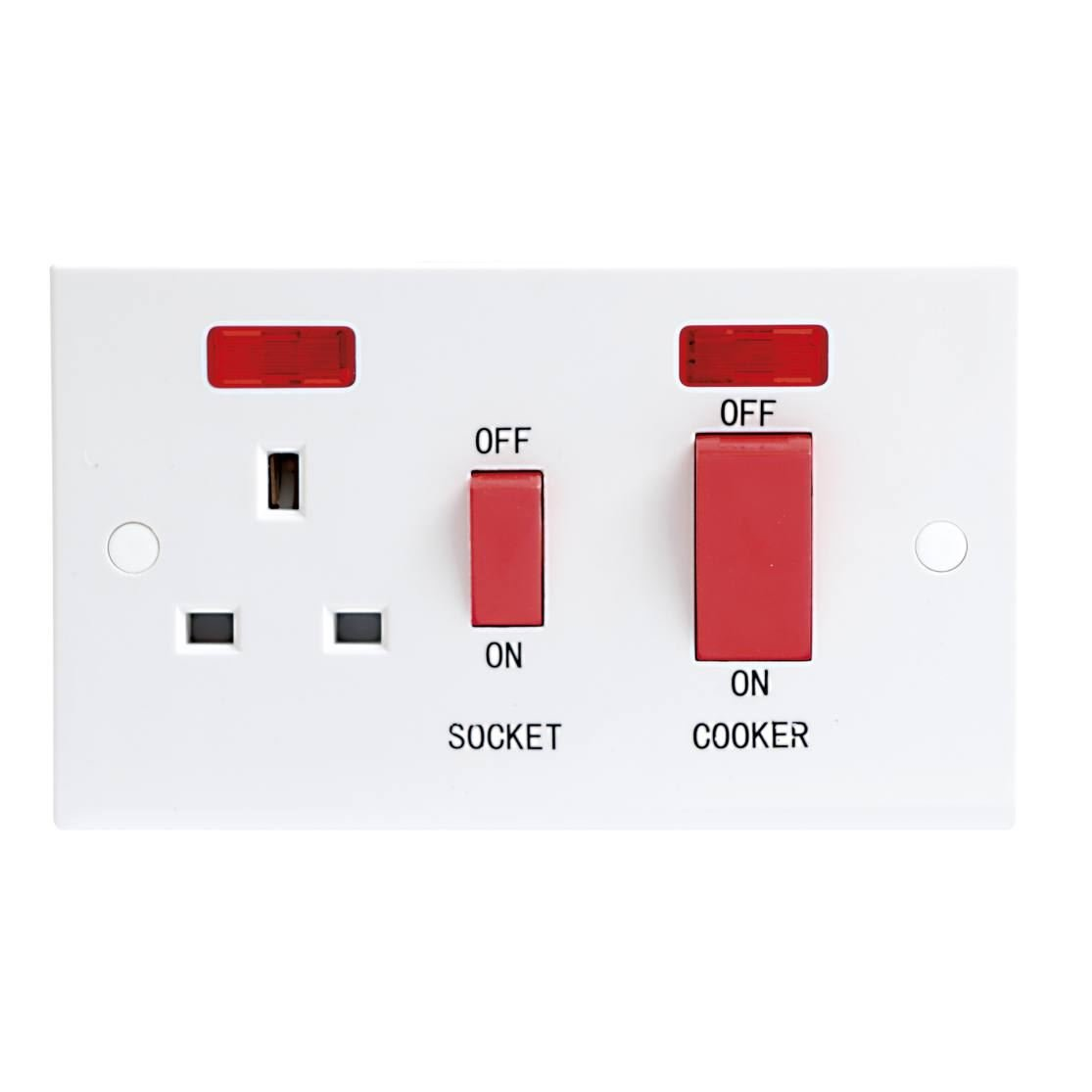 Knightsbridge 45A DP COOKER SWITCH & 13A SWITCHED SOCKET W/NEON ST8333N MLA