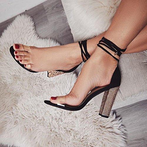 Zapatos Sandalias Zapatos Sandalias Zapatos De Romanoas Fiesta Toe De High Mujer Elegant Block PVC Peep Heels Heel Verano Sandalias Casuales jianhui up Sandalias Lace zUFpqw41