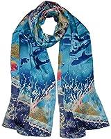 Van Gogh and Claude Monets Paintings, Fashion Silk Scarf Premium Shawl Wrap Art