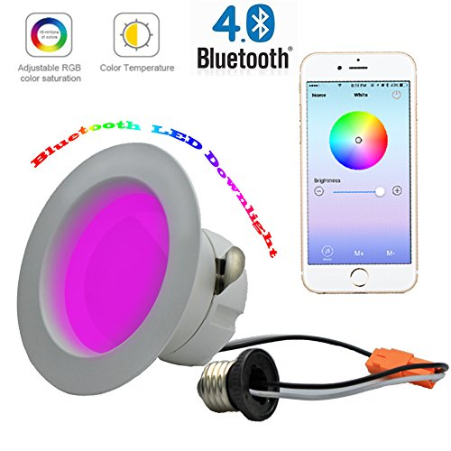 SHYU Bluetooth Smart Led Downlight-Muticolor Recessed color changing led light-App Smartphone controlled For Party Night light-100 Watt Equivalent (100Watt)