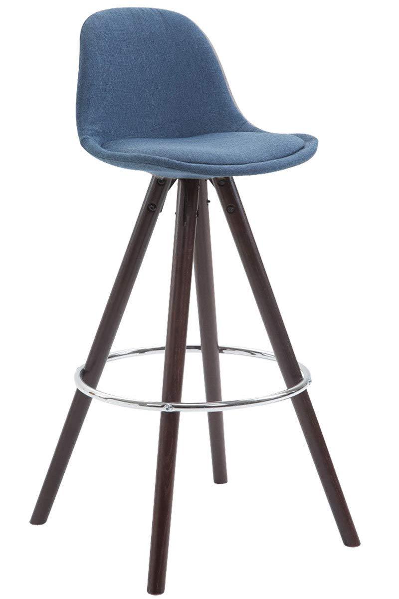 CLP 2er Set Barhocker FRANKLIN FRANKLIN FRANKLIN mit hochwertiger Polsterung und Stoffbezug I Barstuhl mit rundem Eichenholzgestell und Fußstütze Blau, cappuccino bd1950
