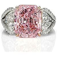 Promsup Women Fashion 925 Sterling Silver Pink Sapphire White Topaz Bridal Ring Jewelry (8)