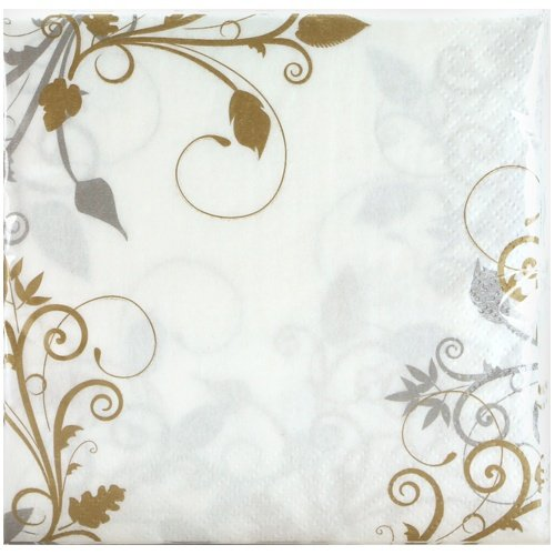 Signature Shimmer - Hanna K. Signature Collection Bella Vite Shimmer 40 Count Lunch Napkin, Gold/Silver