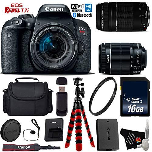 Canon EOS Rebel T7i DSLR Camera 18-55mm is STM Lens & 75-300mm III Lens + Flexible Tripod + UV Protection Filter + Professional Case + Card Reader – International Version